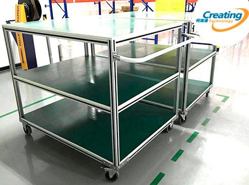 铝型材防静电小车-静音车堆放整齐便于管理